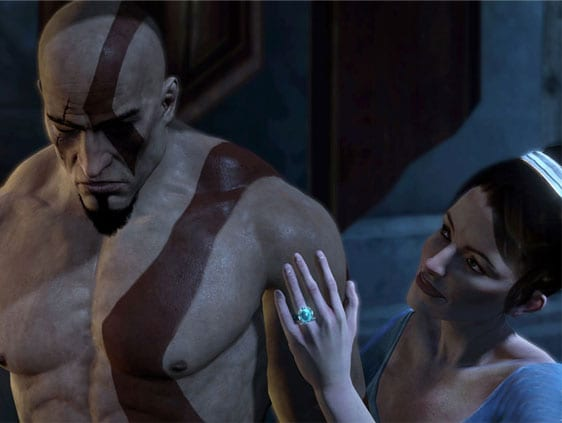 Kratos dentro da ilusão das fúrias com sua esposa.