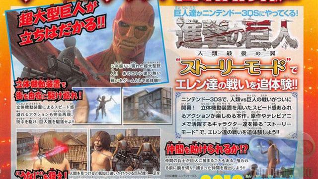 Nesta imagem temos um pouco do que será o gameplay de Shingeki no Kyojin