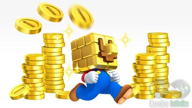 """Mario e o Golden Block, também conhecido como """"Midas Power"""""""