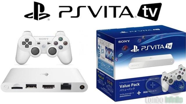 O pacote mais caro do Vita TV, com um Dual Shock 3 e cartão de 8GBs.