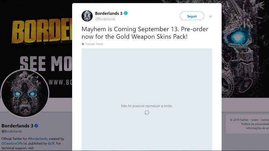 Borderlands 3 já tem data de lançamento