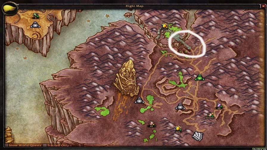 World of Warcraft pinto no mapa do jogo