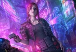 uma personagem segurando uma arma e que fará parte de Cyberpunk 2077
