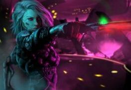 Uma mulher de cabelo branco com arma na mão de Cyberpunk 2077