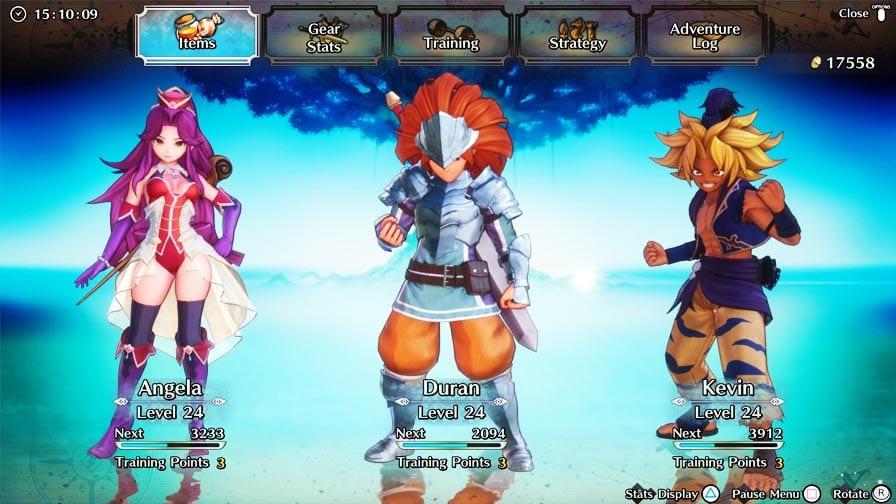 Trials of Mana status dos heróis